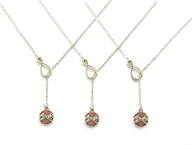 Amazon 3 infinity and pinky promise lariat necklace set best 3 infinity and pinky promise lariat necklace set best friends necklace bff forever silver tone aloadofball Choice Image