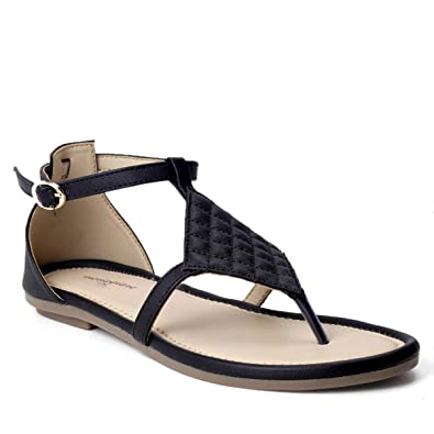 c80aaaad1174c meriggiare Women Black PU Flat Sandals  Buy Online at Low Prices in India -  Amazon.in