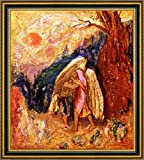 """Jacob Wrestling with the Angel by Odilon Redon - 21"""" x 21"""" Framed Canvas Art Print - Ready to Hang"""