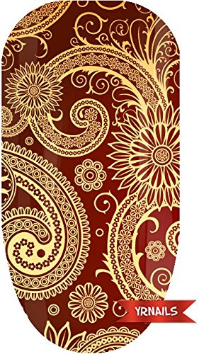 Red Paisley Full Nail Art Wrap by YRNails