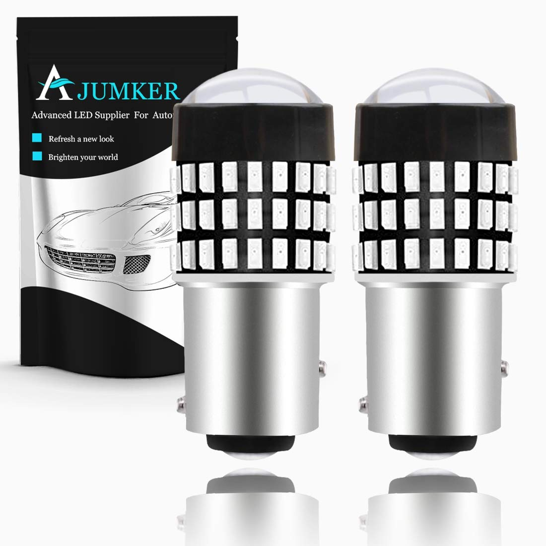 AJUMKER 1157 BAY15D 2057 2357 7528 LED Bulb Red Extremely Bright 1800LM 3014 78-SMD with Projector Lens,12-24V,Work as Back Up Reverse Lights, Brake Tail Lights, Turn Signal Blinkers (Pack of 2)