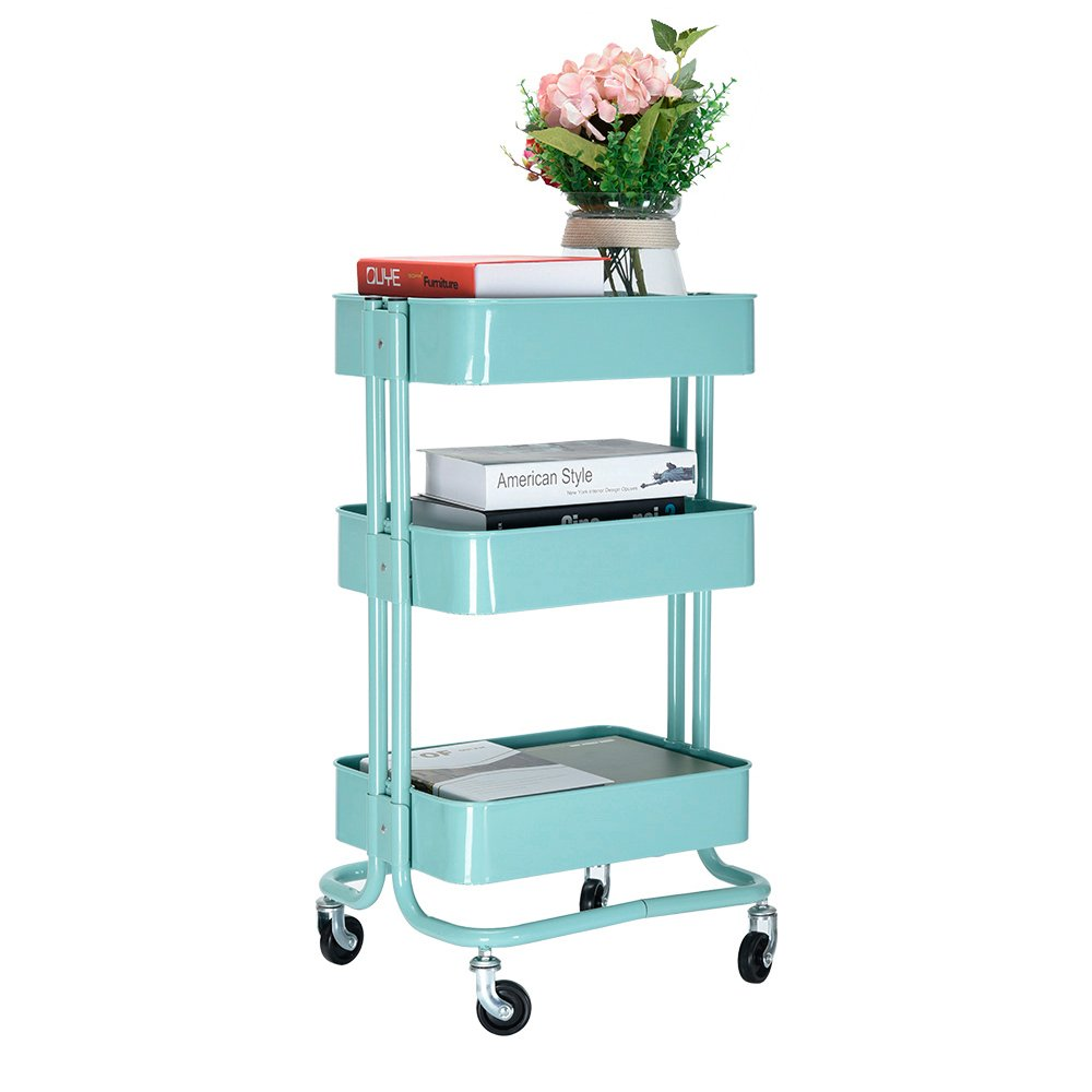 Feifeiyo 1 x 3 Tier Clearing Trolley Restaurant Trolley Kitchen Food Service Trolley, Green Iron Coated Rolling Cart, 4 Baskets, and Capacity: 128kg