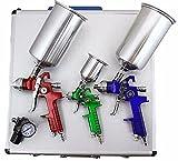 RANK 3 HVLP Air Spray Gun Kit Auto Paint Car Primer Detail Basecoat Clearcoat w/ Case