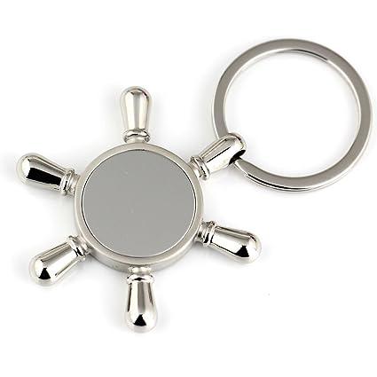 Maycom plateado pulido barco timón con espejo llave llavero clave cadena anillo llavero llavero 86022