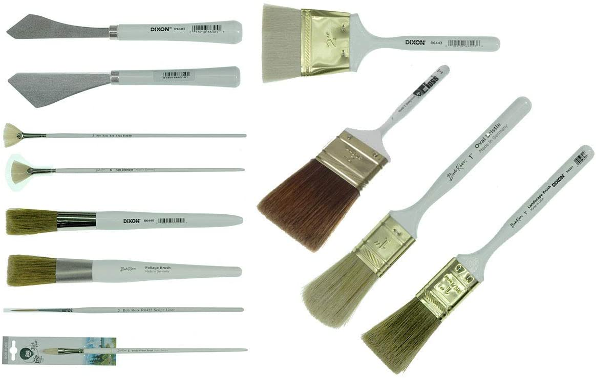 Bob Ross Landscape Brush Set Oil Based Painting Tools 12 Pieces