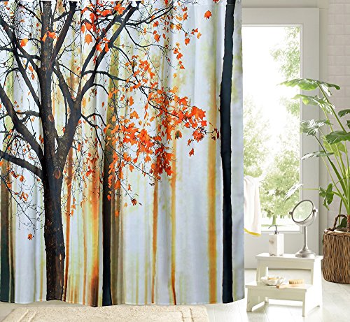 Fall Maple Leaves Tree Shower Curtain for Bathroom -100% Polyester Fabric -Waterproof Mildew Resistant -Home Decor Great Gift -3D Digital Graphic Print with 12 Hooks (72x72) (Party Galaxy Near Me)