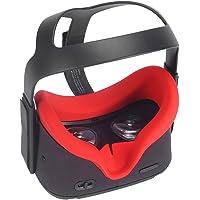 Eyglo Silicone VR Masque de Protection du Visage pour Oculus Quest VR Casque Résistant à la Sueur Pads Faciales de Remplacement (Rouge)