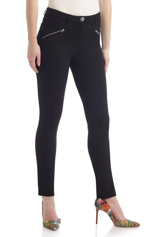 Rekucci Women's Hi-Density Knit 5 Pocket Modern Skinny Pants w/Zippers (Medium,Black)