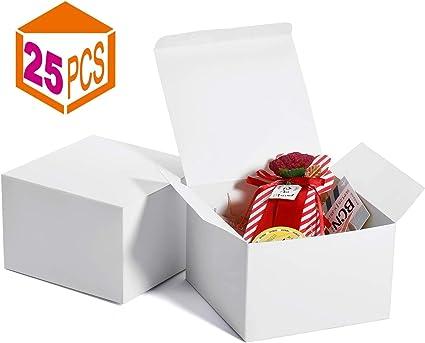 Switory Cajas de regalo de 25 piezas 12,5x12,5x9cm, cajas de regalo de papel Kraft con tapas para hacer manualidades ...