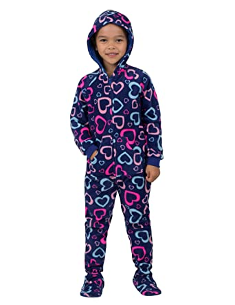 1d0333ef9348 Amazon.com  Footed Pajamas - Hearts of Love Toddler Hoodie Fleece ...