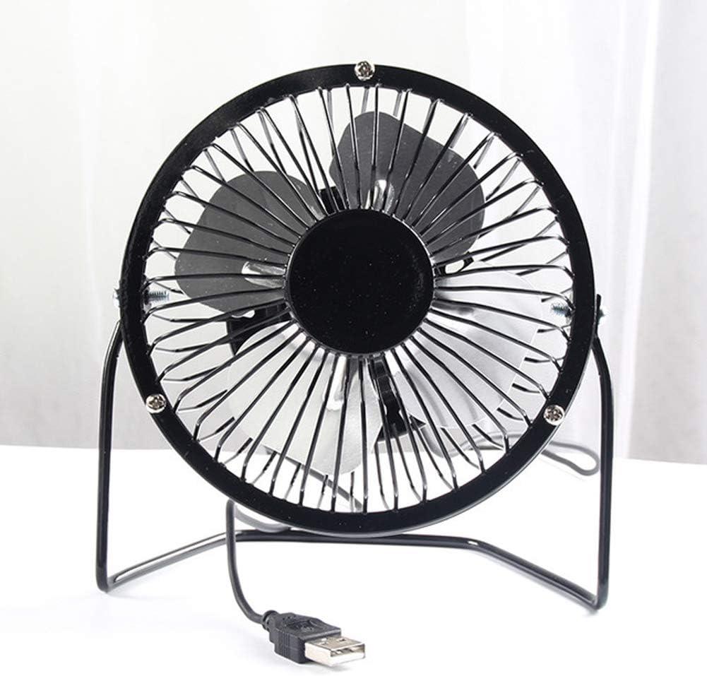 USB Mini Fan Student Dormitory Cartoon 4 Inch Electric Fan Silent Desktop Office Wrought Iron Small Electric Fan,Black