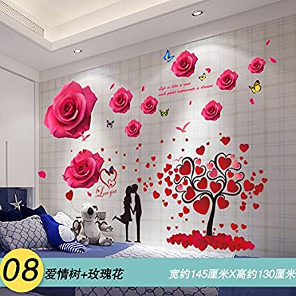 Amazon Com Znzbzt 3d Marriage Room Roses Creative Wall Sticker Art