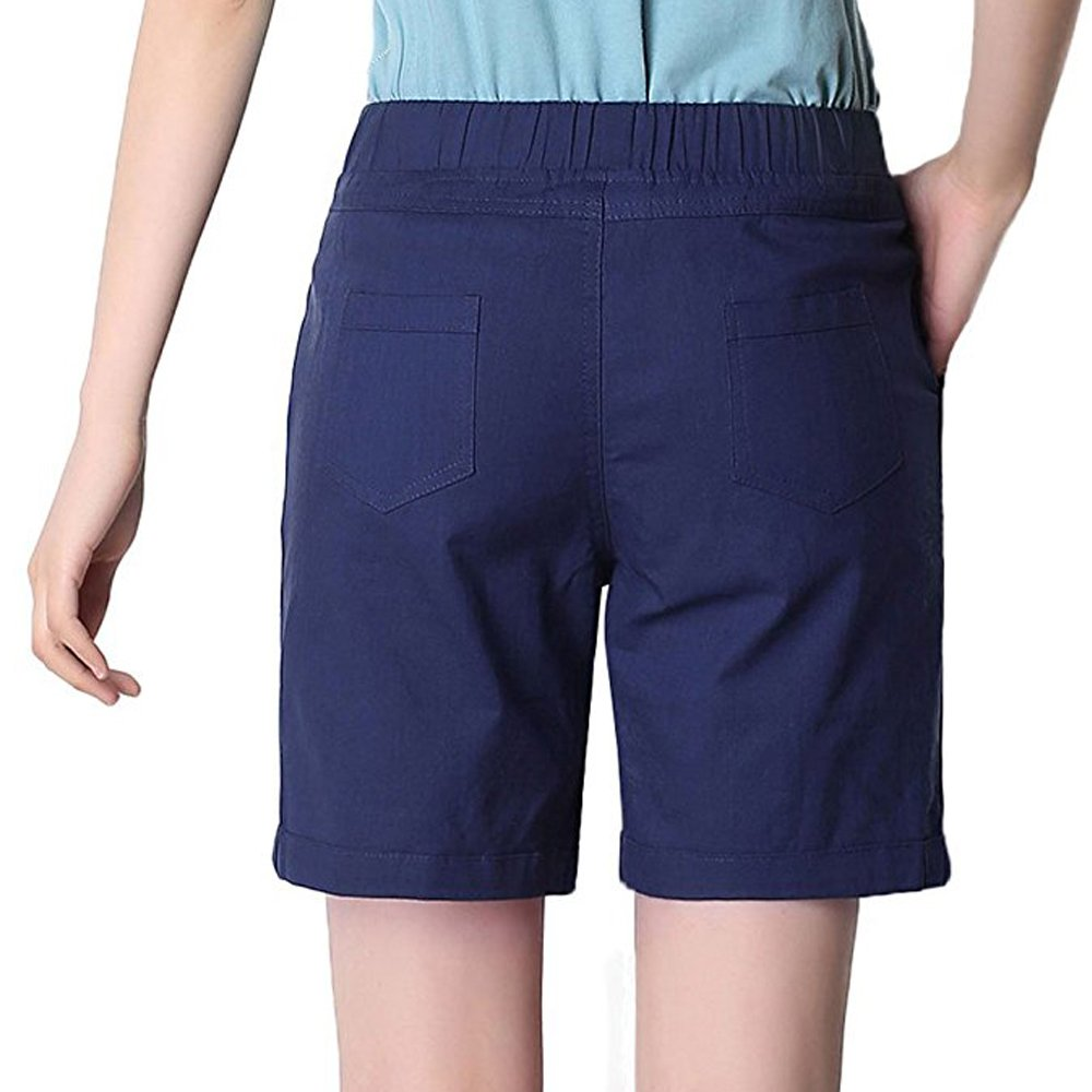 Gooket Womens Modest Loose Elastic Waisted Bermuda Drawstring Casual Shorts