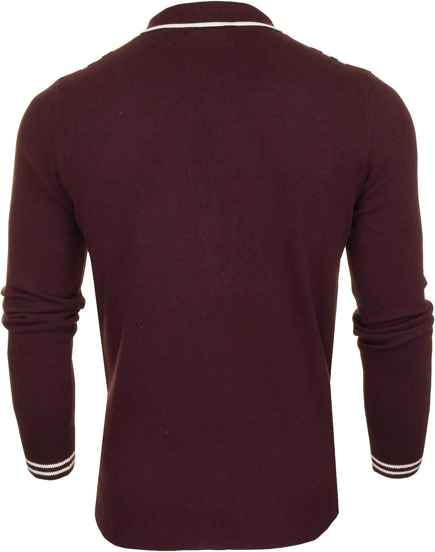 Rouge Vin Homme Brave Soul Cardigan zipp/és avec col Mellor S