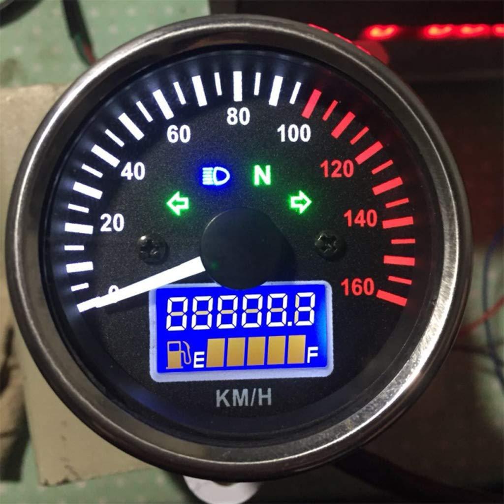 IPOTCH Motorrad Multifunktionsanzeige Kraftstoffanzeiger Universelle Passform f/ür Alle Motorr/äder mit DC 12V Batterie