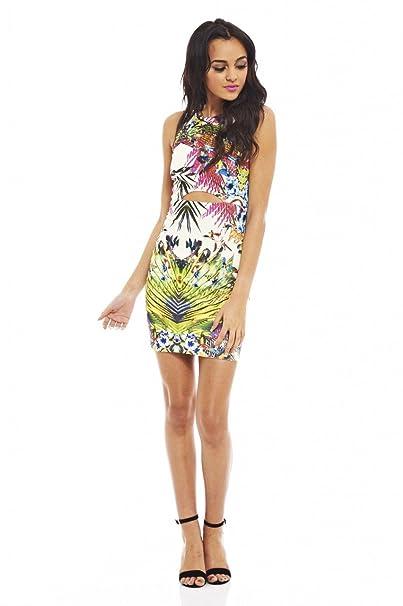 AX Paris Tropical Print Cut Out Slit Waist Dress(Multicolored, Size:6)