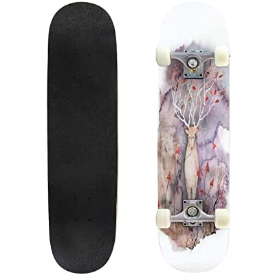 Classic Concave Skateboard Magic Fantasy Illustration Dark Magical Forest and Whimsical Creature Longboard Maple Deck Extreme Sports and Outdoors Double Kick Trick for Beginners and Professionals : Sports & Outdoors