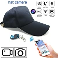 Mini cámara espía WIFI, 1080p HD 8 GB Micro cámara grabadora de detector de movimiento con Wearable navyblue color Hat A distancia