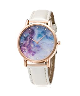 Loweryeah Male and Female Pu Leather Quartz Watch Personality Star Compact Dial (White 1)