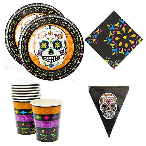 [Day of the Dead Candy Skull Party supplies, 16 guests, plates, napkins, cups, flag pendant] (Day Of The Dead Supplies)