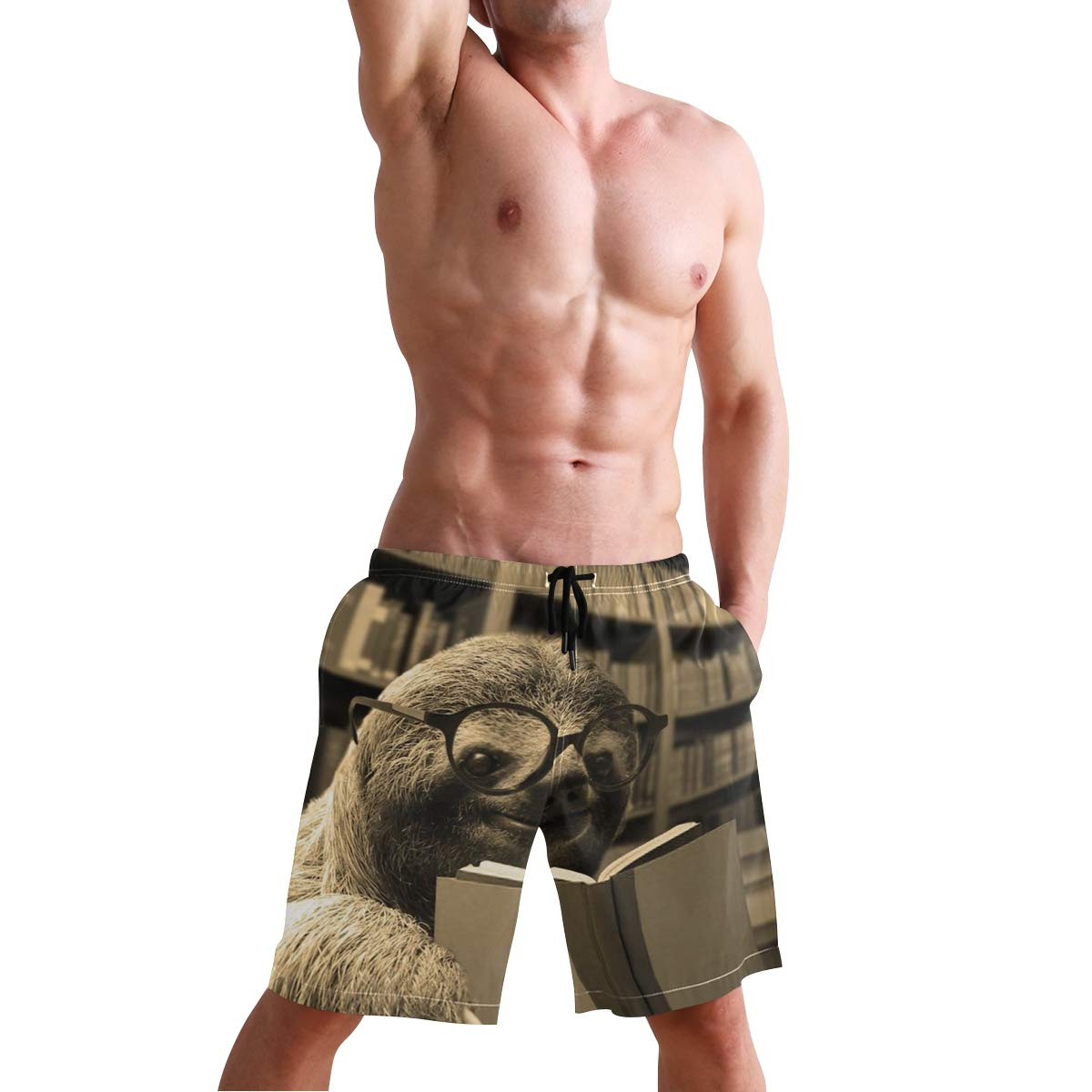 Casual Mens Swim Trunks Breathable Quick Dry Printed Beach Shorts Sloth Reading Books Summer Boardshorts with Mesh Lining