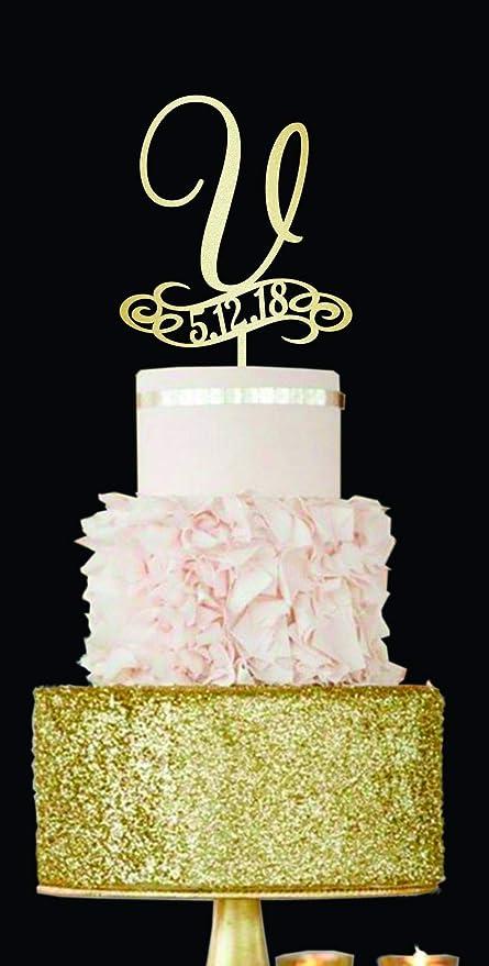 Adorno para tarta de boda, diseño de letra V, color dorado ...