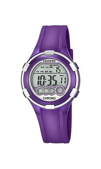 Calypso. Reloj Digital para Dama con Esfera LCD y Pantalla Digital, y Extensible de plástico de Color Purpura K5692/5: Amazon.es: Relojes