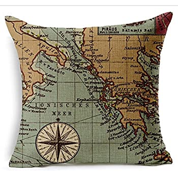 Colorful World Map Cotton Linen Throw Pillow Case Cushion Cover Home Sofa Decorative 18 X 18 Inch (1)
