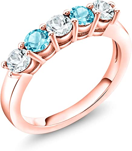 2.64 ct tw Natural Sky Blue Aquamarine Solid Gold 5 Stone Ring 14k 18k White Yellow Rose Gold Available Five Stone Engagement