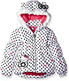 Hello Kitty Girls' All Over Printed Puffer Jacket with Fur Trim Hood, White, 12M