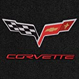 Lloyd Mats - Ultimat Ebony 3PC Floor Mats For Corvette Z06 / ZR1 2006-13 with C6 Flags and Red Corvette Lettering