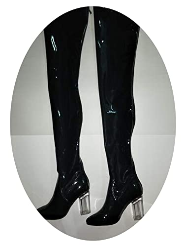 c25b57ce4c8 2018 Super Hot Blue Patent Leather Women Sexy Thigh High Boots Pointy Toe  Colorful Crystal Chunky