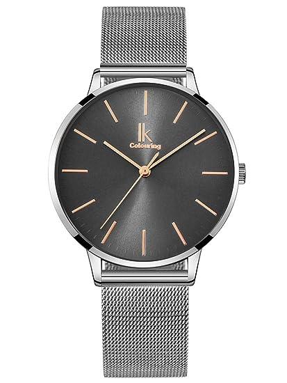 Alienwork Reloj Mujer Relojes Acero Inoxidable Plata Analógicos Cuarzo Gris Impermeable Ultra-Delgada: Amazon.es: Relojes