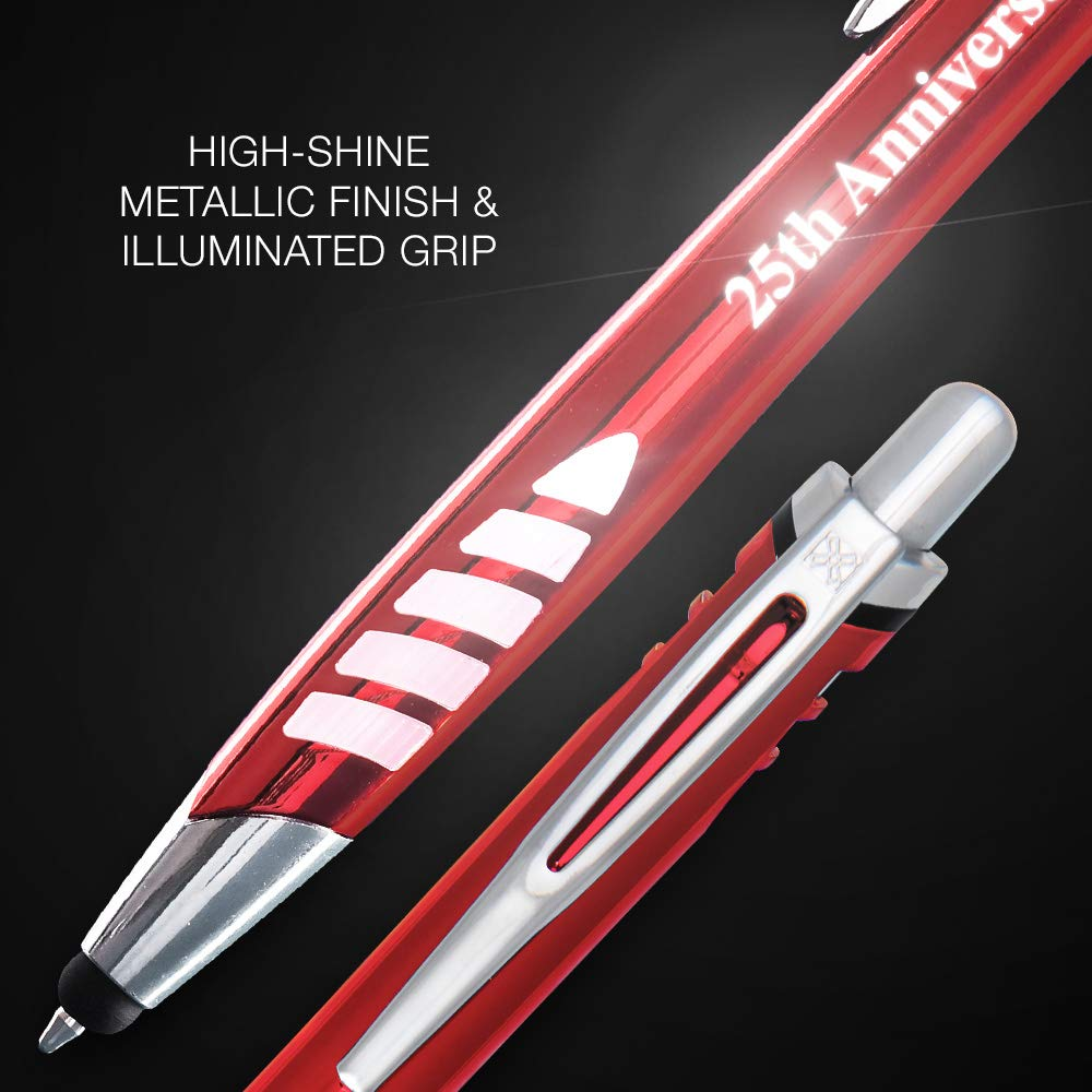 5 Custom Laser-Engraved Metal Ballpoint Stylus Pens With Illuminated Engraving & Soft Glowing Silicone Grip. Available in 5 Colors - Stylus Tip Works with All Touchscreen Devices. by Imprints Online (Image #5)