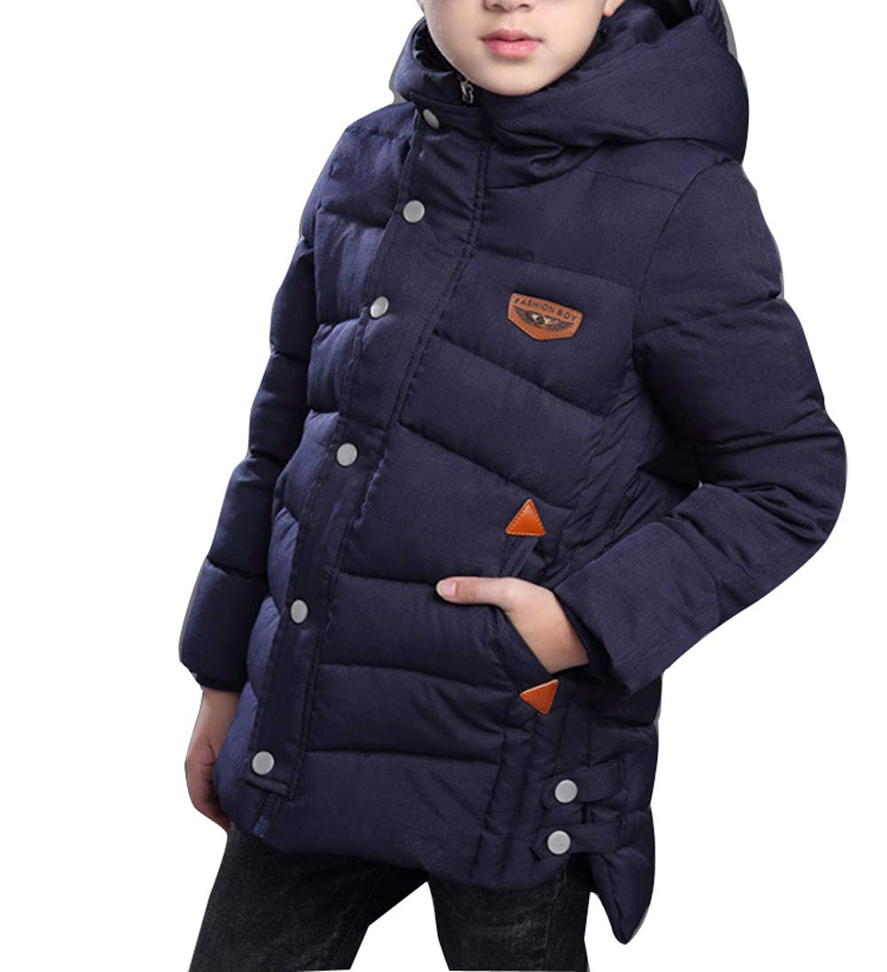 Gaorui Boys Winter Hooded Down Coat Jacket Thick Wool Inside Kids Warm Outerwear Coat Red Quilted Puffer Dark Blue