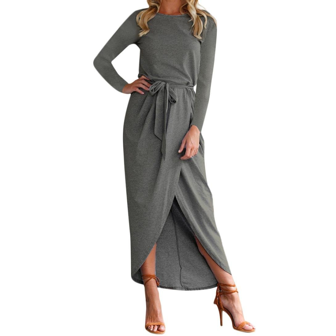 Hemlock Long Maxi Dress Women Hem Split Dress Boho Sundress Waist Tie Party Dress (M, Dark Gray -1)