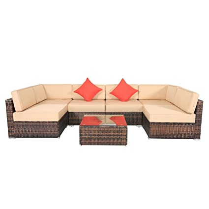 Fantastic Amazon Com Palm Kloset 7Pcs Rattan Wicker Patio Furniture Download Free Architecture Designs Embacsunscenecom