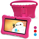 Kids Tablet Kids Pad Tablet - Auto Beyond 7 inch Tablets for Kids Google Android 6.0 with Handle Silicone Case,Per-installed iWawaHome and AR Zoo APP,IPS Display Screen,1GB+8GB,Wi-Fi,Bluetooth (Pink)