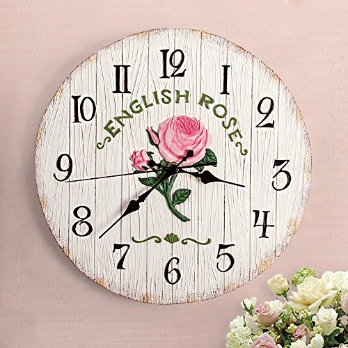Yomioak Modern Simple Fashion Family Living Room Wall Clock, europeanstyle Retro Creative Personality Mute Clock Round Lavender Pastoral Without Plate 27cm, (Lavender Clock Plate)