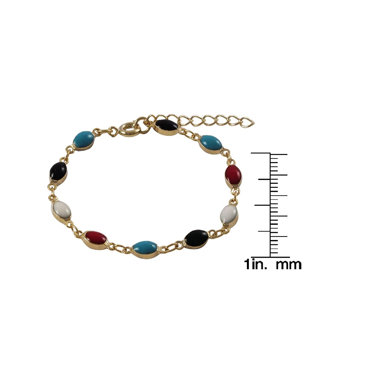 Ivy and Max Gold Finish Red White and Blue Enamel Girls Bracelet