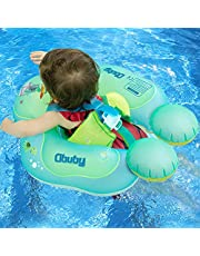 OBUBY Baby Swimming Float Ring Inflatable Neck Pool Floats with Safe Bottom Support Children Waist Swim Water Toys Accessories for Toddler Age of 3-36 Months
