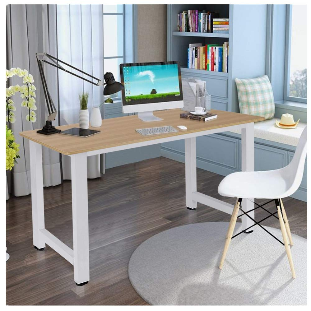 Amazon Com Kcper Home Office Computer Desk Computer Table Office Desk Writing Desk Pc Laptop Study Table Workstation Wood And Metal 47 Modern Rectangular Simple Table Beauty