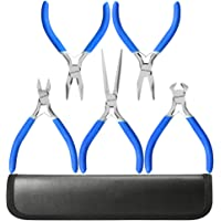 5 Piece Mini Pliers Tool Set, Kingsdun Flush Side Wire Cutter Pliers Set Include Needle/Long Nose/Diagonal/End Cutting/Linesman Pliers for Jewelry Arts Mechanical Work Small Electronics Repair
