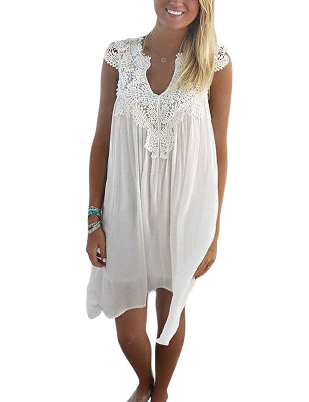 004bc2ff9b9a2b Donne Senza Maniche Chiffon Vestito Estate Spiaggia Pizzo Corto Vestito V  Collo Abito Bianco: Amazon.it: Abbigliamento
