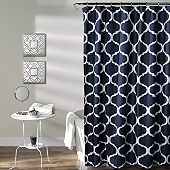 Lush Decor Geo Shower Curtain 72 Inches X Navy