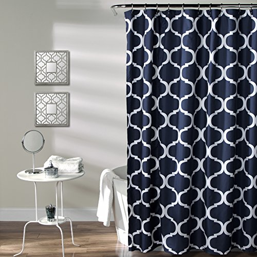 Gentil Lush Decor Geo Shower Curtain, 72 Inches X 72 Inches, Navy