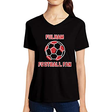 8188d8efe Pooplu Womens Fulham FC Football Fan Cotton Printed V Neck Half Sleeves  Black & White Tshirt. Sports, Football Tshirts: Amazon.in: Clothing &  Accessories