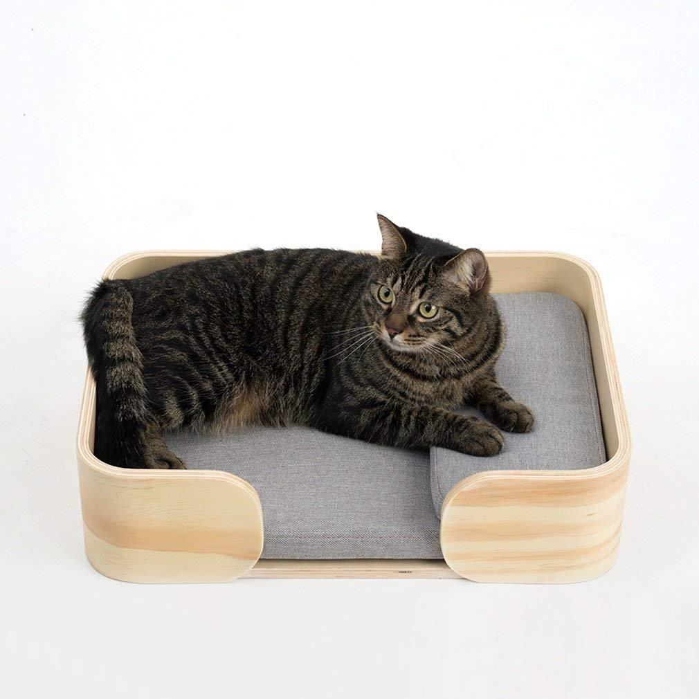 MEIDI Home Cama para Mascotas Gato Cama para Mascotas Estera Caja de Madera Caseta para Gatos Casa de Perros Nido para Mascotas Madera Maciza Nido de Perro ...