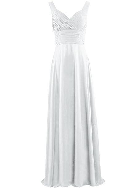ASVOGUE Mujer Vestido de Damas de Honor de Gasa Largo Cintura Alta sin Mangas, Blanco XL: Amazon.es: Ropa y accesorios