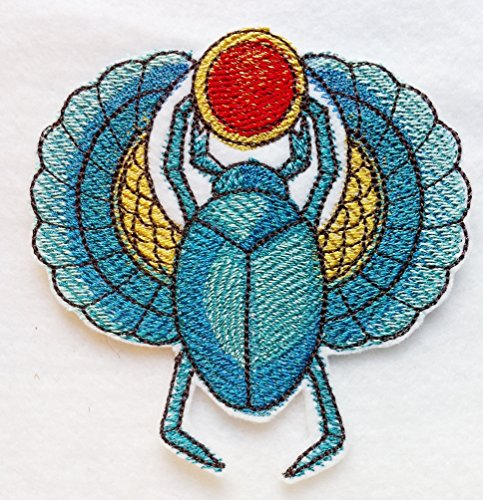 (Custom and Unique (4 inch x 4 inch) Colorful Egyptian Scarab Beetle with Jewel Iron On Embroidered Applique Patch {Turquoise - red- gold Colors} Made in USA)